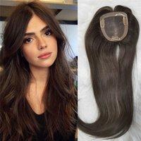 10x11cm 인간의 머리카락 toppers # 4 여성을위한 버진 유럽의 머리카락을 엷게하는 모발 조각에 칼톨 레이트 갈색 컬러 클립