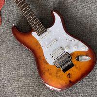 Tütün sunburst vücut floyd gül guitarra eléctrica con ssh manyetikler, koruyucu de perla blanca, oferta personalizada elektrik gitar gitar