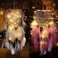 LED Dize Ile Fantezi Rüya Catcher Hollow Hoop Kalp Şekli Kolye Tüyler El Yapımı Gece Işık Duvar Asılı Ev Dekor Hediye