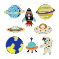 Cartoon Astronauten Raumschiff Rakete Brosche Pins Set Lustige UFO Planet Legierung Farbe Broschen Für Kinder Schmuck Geschenk Badge Hemd Pin