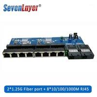 10/100 / 1000m Gigabit Ethernet Switch Faser Optical Media Converter PCBA 8 RJ45 UTP und 2 SC Faser Anschlussplatte PCB 1PCS1