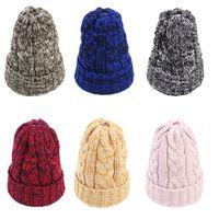 Femmes Bonnets de queue de queue d'hiver Winter Twing Haulette Chapeau chaude Chaud Horsetai Skull Beanie Crochet Cap Cap Ski Outdoor YHM176