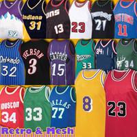77 Doncic Jersey Luka Hakeem Retro Allen Olajuwon Iverson Kevin Ray Garnett Ray Vince 15 Carter Basketbol Grant Scottie Pippen Hill Erkekler
