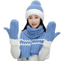 Şapkalar, Atkılar Eldiven Setleri Kadınlar Kış 3 adet Ponpon Bere Şapka Uzun Eşarp Seti Kontrast Renk Tıknaz Örgü Peluş Çizgili Kafatası Kap Boyun Isıtıcı1