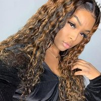 Curly Human Hair Wig Honey Blonde Ombre 13x1 Brazilian Brown Color Deep Water Wave Highlight Lace Front Wigs