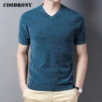 COODRONY Marka Triko Erkekler Kısa Kollu V-Yaka Kazak Erkekler Giyim Sonbahar Kış Moda Günlük Slim Fit Jumper Kazak C1186