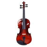 3/4 Violina de madeira maciça completa Conjunto com descanso de ombro + sintonizador de quatro tubos + um conjunto de violino adequado para iniciantes