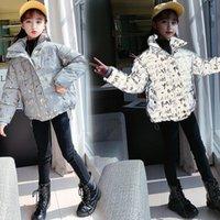 Çocuk Moda Marka Ceket Kalın Sıcak Parka Giysi Mektuplar Kızlar Için Glow Yansıtıcı Giyim Kış Ceket 4-13YRS 201127