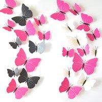 12pcs 3d borboleta adesivo de parede pvc simulação estereoscópico borboleta mural adesivo frigorífico ima de geladeira arte decalque sala de criança decoração ppa3214