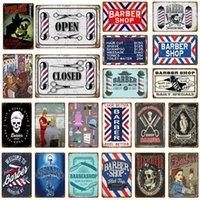 2021 Vintage Barber Shop Crafts Metal Signs Stickers mural ouvert Plaque publicitaire fermée pour Pub Bar Club Shop Home Decor Décor Poster
