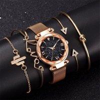 Moda pulseira relógios mulheres 5 pcs conjunto de luxo rosa senhora senhora relógios estrelados ímã fivela presente para fêmea 201204