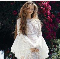 112 XXL 2020 Ücretsiz Kargo Sonbahar Beyaz Uzun Kollu Ekip Boyun Dantel Elbise Moda Top Elbise Bayan Giysileri Oulai