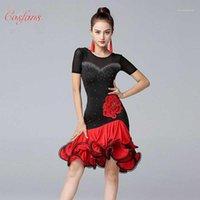 Vestido de la práctica de la mujer del desgaste de la etapa Mujeres de la ropa negra y roja de la competencia latina Profesional Tango Performance Costume1