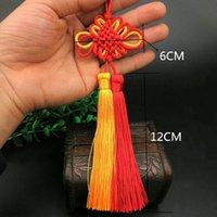 5pc nudos chinos rojo amarillo borla doble llavero llavero correas de bricolaje joyería haciendo encantos colgantes artesanía accesorios artesanía tassel h jllzzn