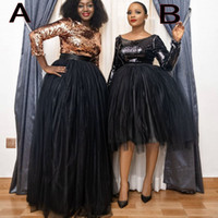 블랙 저녁 착용 Dresse 2021 패션 아프리카 여성 공식 드레스 댄스 파티 드레스 연예인 가운 드 Soiree 긴 소매 로즈 골드 스팽글 얇은 명주 그물