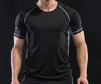 Vêtement à la manches courtes pour hommes Vêtements de séchage rapide T-shirt T-shirt de la soie de glace serrée