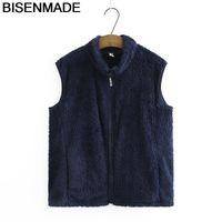 BisenMade негабаритные женские без рукавовные жилеты осенью новый свободный бархатный жилет куртка