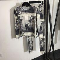 1105 2020 Kostenloser Versand Brief Crew Neck Grau Zwei Teile Sets Langarm Strickjacke Gleiche Stil Pullover Mode Pullover Qian