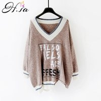 HSA Femmes Sweaters and Pullovers Automne Winter V Lettres Lettres Imprimer Pull Pull Sumpers Chic Tincipe surdimensionné Femme Femme Femme 201031
