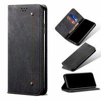Денима джинсы Canvas магнит слот Флип карт бумажника Чехол для Iphone 11 12mini Pro Max XS XR 8 7 6S Plus