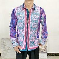 새로운 가을 남자 드레스 셔츠 Hipster 긴 소매 멋진 셔츠 남성 럭셔리 디자인 바로크 꽃 인쇄 결혼식 파티 팬티 셔츠 C1212