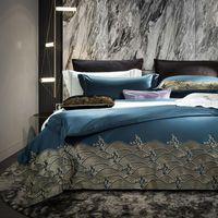 Casa Textiles Luxury 1200TC Línea de cama Satin 100% Egipcio Edredón de algodón Cama Cama 180 Botón Conjunto de ropa de cama con funda de almohada /