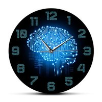 Horloges murales Mouvement silencieux Watch Company Décor Cerveau Circuit Circuit Circuit Art for Geeks Code Binaire Intelligence Horloge