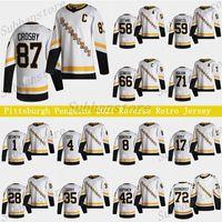 Pittsburgh Penguins 2021 Reverse Retro Jersey 87 Sidney Crosby 66 Mario Lemieux 71 Evgeni Malkin 58 Letang 59 Jake Guentzel Hóquei Jerseys