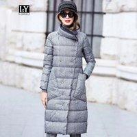 Ly Varey LIN утка пуховик женщины зимние длинные толстые двойное бесконечное плечо пальто плюс размер теплый двухбортный снег парень Parka1
