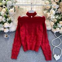 FoamLina frauen rote pullover koreanische mode slash neck off schulter langarm lässig lose weibliche strick jumper pullover