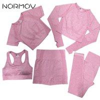 Yoga Outfits Normov 5 pcs Gym set mulheres sem costura treino roupas respiráveis roupas atléticas jogging push up