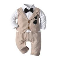 아기 신사 Romper 소년 선글라스 자수 옷깃 긴 소매 가짜 2pcs jumpsuits 유아 키즈 코튼 등반 옷 기저귀 a5418