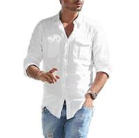 الصلبة 2021 الصيف عارضة قمصان الرجال الملابس جيوب طويلة الأكمام camisas الفقرة hombre رجل الكتان قميص قميص أوم