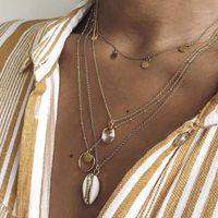 Ожерелья кулон женские ожерелье старинные оболочки круглые розовые кристалл многослойные золотые набор красивые женщины партии ювелирные изделия1