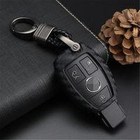 لمرسيدس بنز فوب، مفتاح السيارة فوب القضية لمرسيدس A C E Class Glk Cla GLA GLC GLE CLS SLK AMC E260L C200L - أسود نسج سلسلة المفاتيح