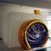 Cabine inflável branca da foto do material da prova do fogo com a cabine da foto do inflatables do ventilador da tira do diodo emissor de luz para a decoração do casamento
