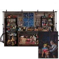 Materiał tła Mehofond Boże Narodzenie tło Santa Store Shop Snow Nadokienne Drewno Stół Mechanik Narzędzia Pogograficzne Tła dla Studio1