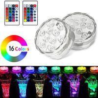 10 luces de mando de buceo LED Aquarium colorido bajo el agua, luces impermeables resaltar control remoto 7 colores, luces de tanque de agua