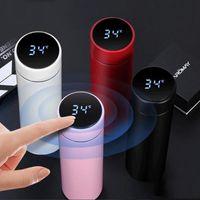 موضة جديدة الأزياء الذكية القدح عرض درجة الحرارة المقاوم للصدأ زجاجة المياه غلاية الحرارية كوب مع شاشة LCD شاشة اللمس هدية كأس WQ117