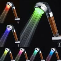 7 색 변경 LED 음이온 스파 샤워 헤드 온도 제어 욕실 고압 물 절약 손 샤워 헤드