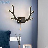 Lampada da parete Creative Deer Antler con sensore di movimento On / Off Interruttore Bianco Nero Comodino Lampada da letto Soggiorno per bambini Scala per bambini Lampade
