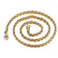 A granel 18k Cadenas de oro chapado en oro para hombres Hombres 3mm Cuerda torcida Gargantilla de gota de cordones Tamaño 18 20 22 24 30 pulgadas 289 g2