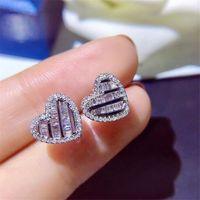 Regalo dei monili scintillante di lusso di alta qualità Argento 925 principessa Cut Topazio bianco della CZ Diamond Heart Donne dell'orecchino Wedding Orecchino