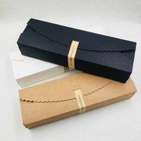 30 pcs / lot 23x7x4cm kraft papier boîte bricolage blanc / marron / noire boîte de papier emballage boîte cadeau pour les cookies / bonbons / chocolats Jllabk