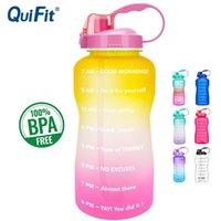 Quifit 2L 3.8L Gallone Tritan Sportwasserflasche mit Stroh Big Protein Shaker Drink Flaschen Gourd Cup Jug BPA Kostenloses Outdoor Gym 201105