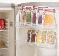 500pcs 재사용 식품 저장 지퍼 가방 메이슨 항아리 모양 스낵 밀랍 음식 보호기 누출 방지 가방 주방 o Bbyjys Bdesports