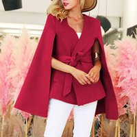 New Womens Ladies Winter Vintage Cloak Batwing Sleeve Poncho Cape Belted Waist Trench Coat LJ201128