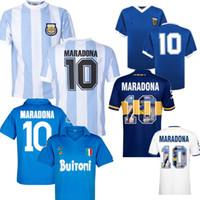 Maradona Napoli Boca Soccer Jerseys 1997 Argentinien 1986 Home und Away Vintage Jersey 87-88 89-90 Classic Football Kit