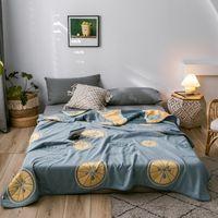 Zitrone Quilts Fadendecke Weiche 6-Schicht-Gaze Sommerdecke 100% Baumwolle Quilt 150 * 200 cm Bettbezug NEUER JACQUARD BETTSPREED T200901