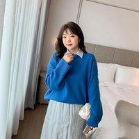 Melifle Kış Moda Mavi Hoodies Kadınlar Için Vogue Uzun Kollu Boy Yumuşak Kazak Gevşek Saf Kalın Kore Feamle Giyim